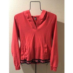 Fox Orange V Neck Hooded Sweatshirt
